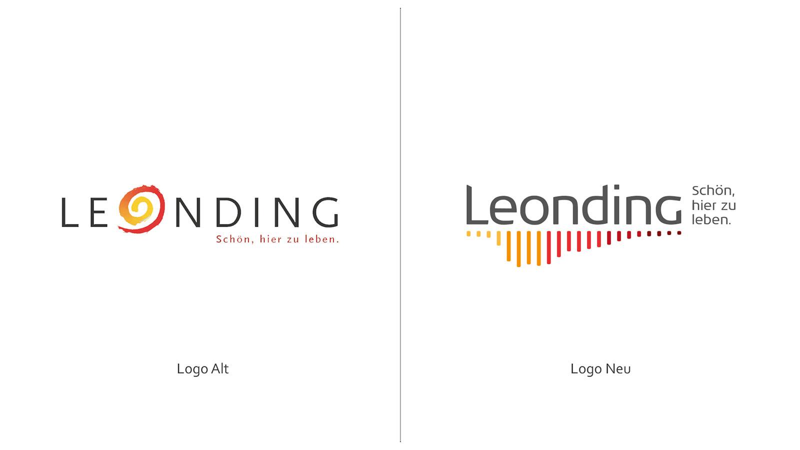 Leonding Logogegenüberstellung Alt - Neu